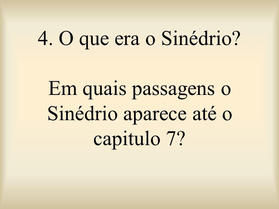4. O que era o Sinédrio Em quais passagens o Sinédrio aparece até o capitulo 7