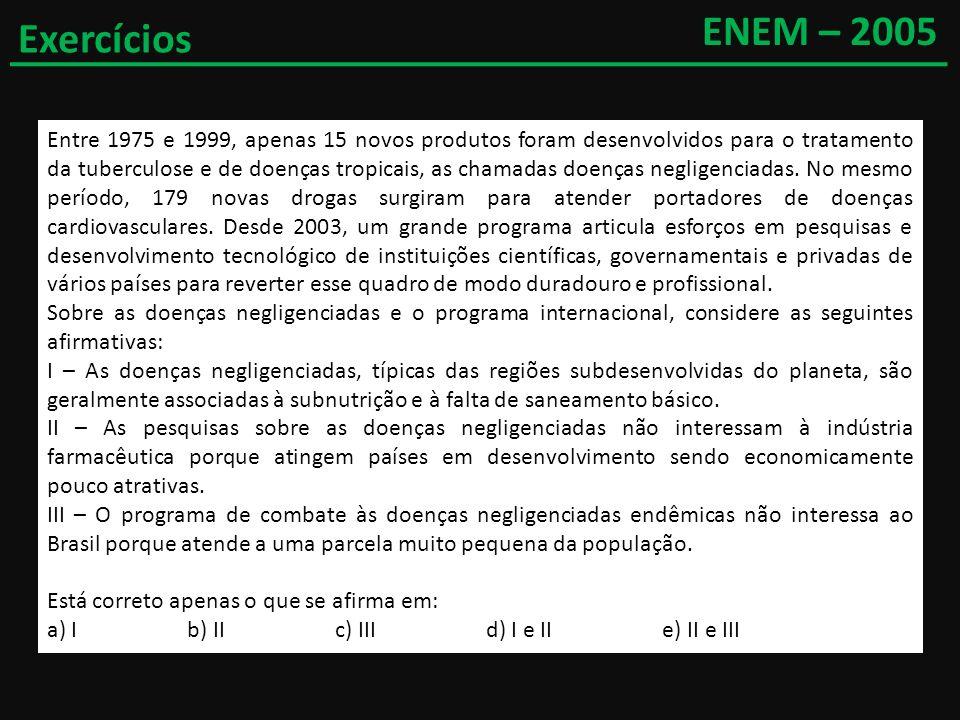 ENEM – 2005Exercícios.