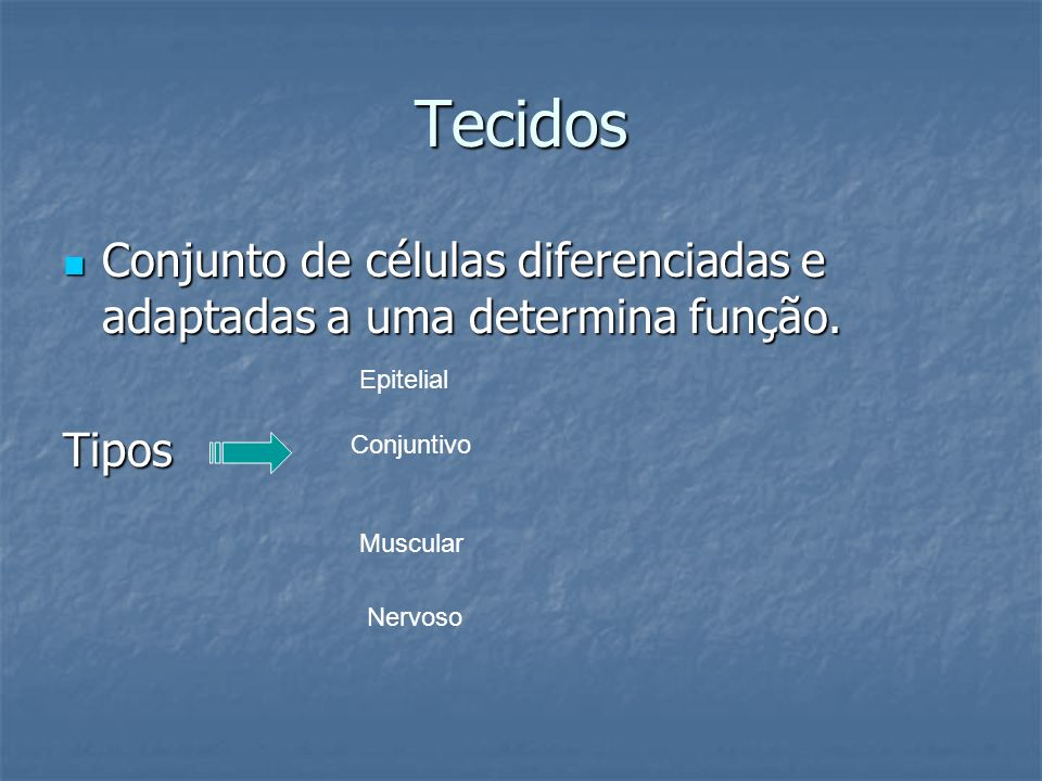 Tecidos Conjunto de células diferenciadas e adaptadas a uma determina função. Tipos. Epitelial. Conjuntivo.