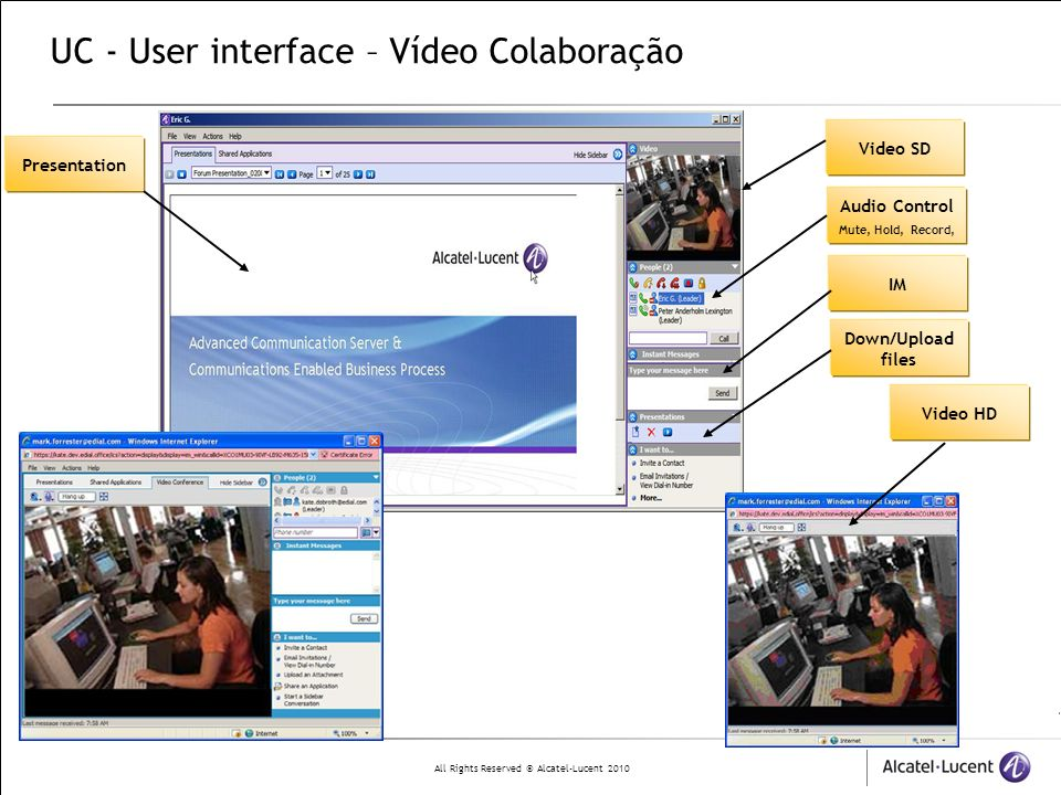 UC - User interface – Vídeo Colaboração