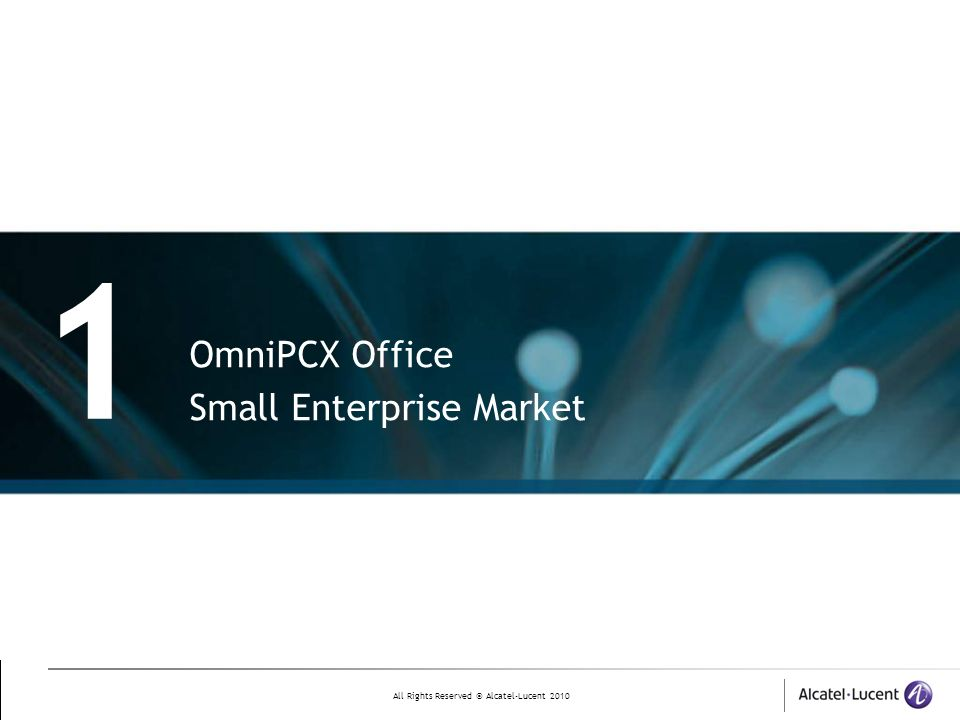 1 OmniPCX Office Small Enterprise Market