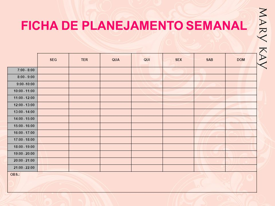 FICHA DE PLANEJAMENTO SEMANAL