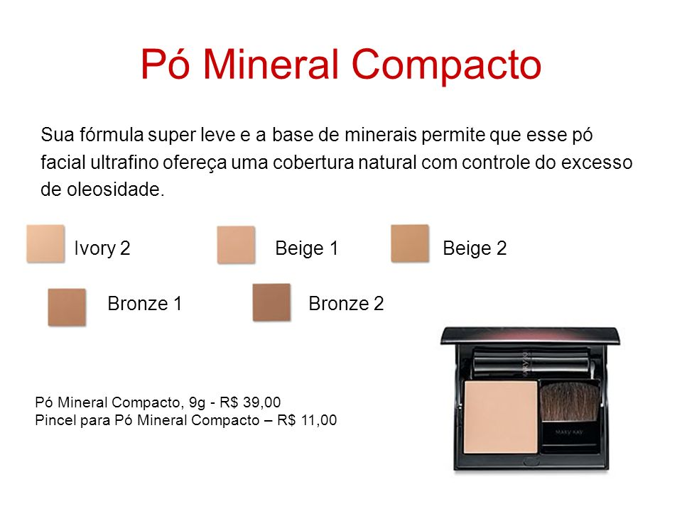 Pó Mineral Compacto Ivory 2 Beige 1 Beige 2