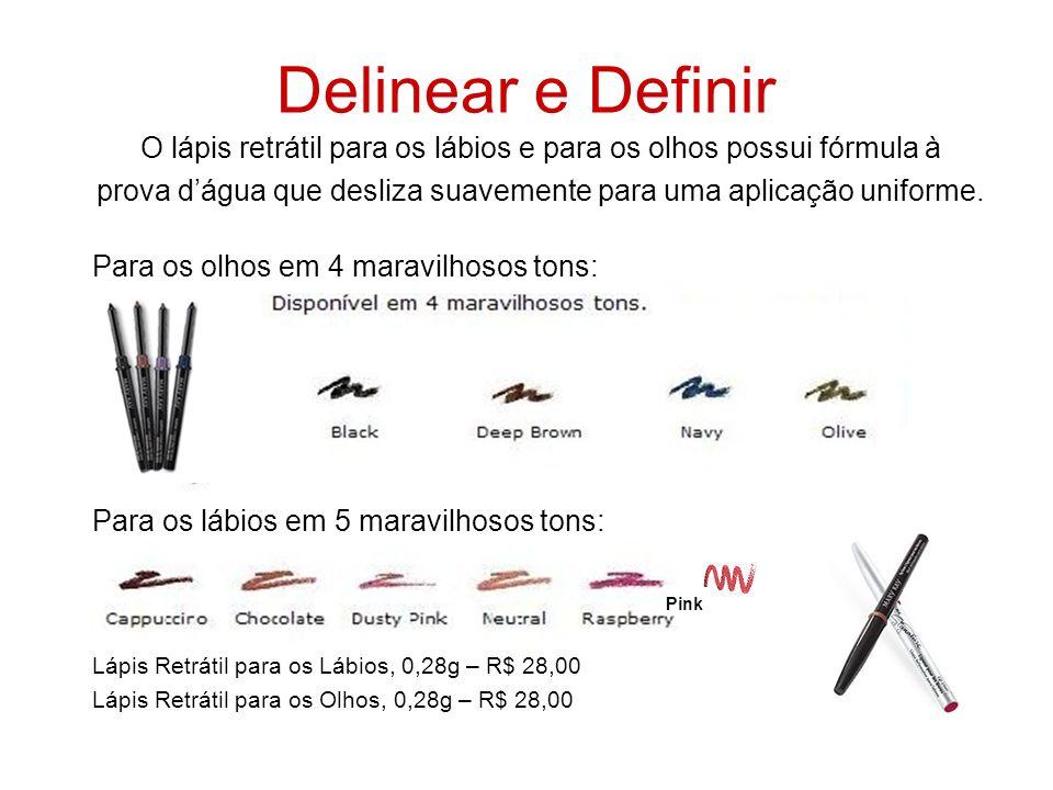 Delinear e Definir O lápis retrátil para os lábios e para os olhos possui fórmula à.