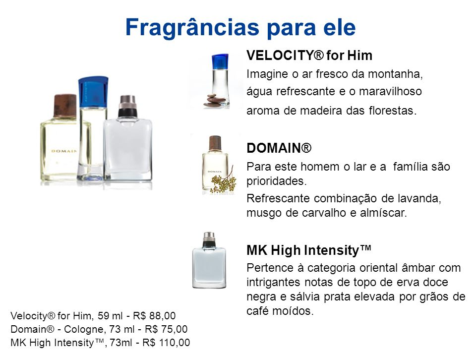 Fragrâncias para ele VELOCITY® for Him DOMAIN® MK High Intensity™