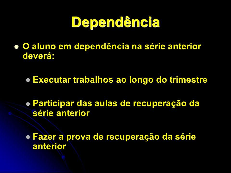 Dependência O aluno em dependência na série anterior deverá: