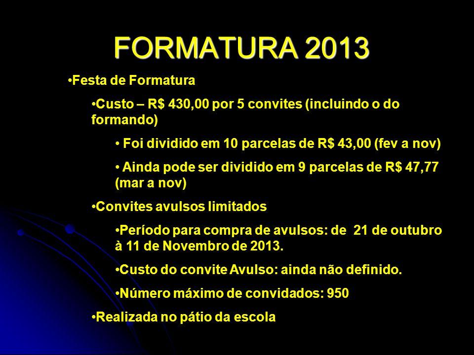 FORMATURA 2013 Festa de Formatura