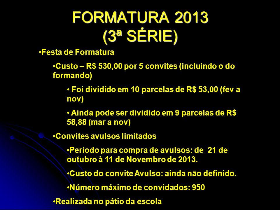 FORMATURA 2013 (3ª SÉRIE) Festa de Formatura