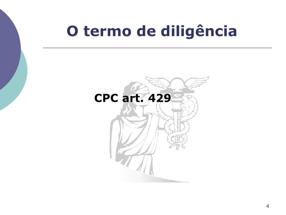 O termo de diligência CPC art. 429