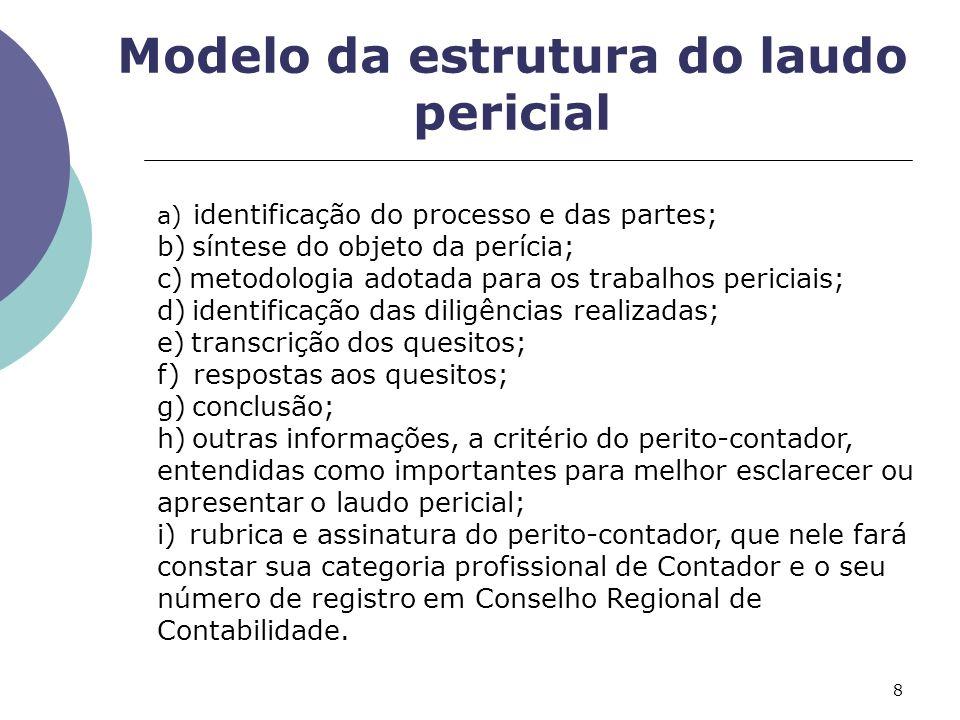 Modelo da estrutura do laudo pericial