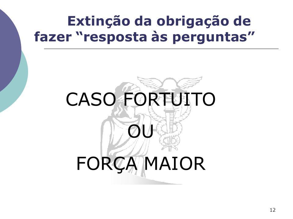 CASO FORTUITO OU FORÇA MAIOR