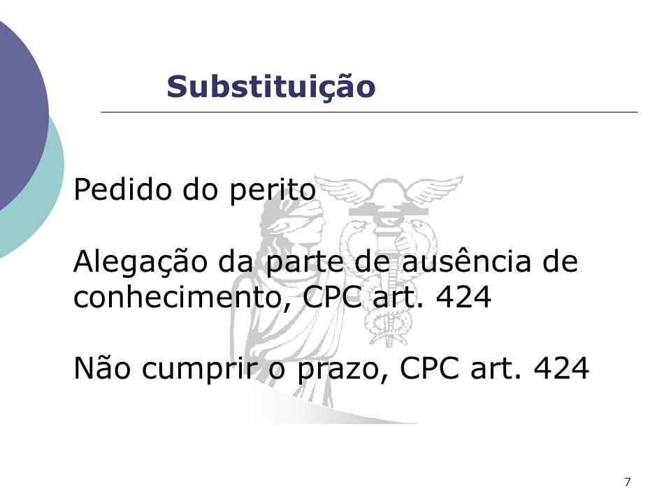 Substituição Pedido do perito. Alegação da parte de ausência de conhecimento, CPC art.