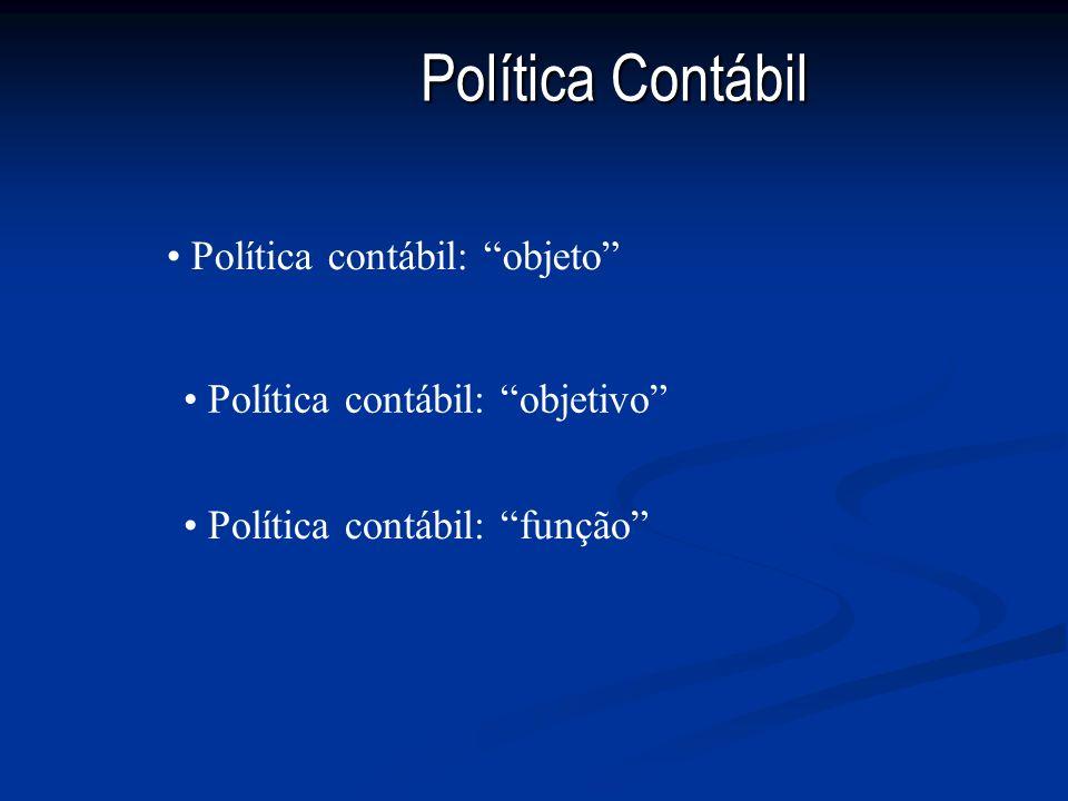 Política Contábil Política contábil: objeto