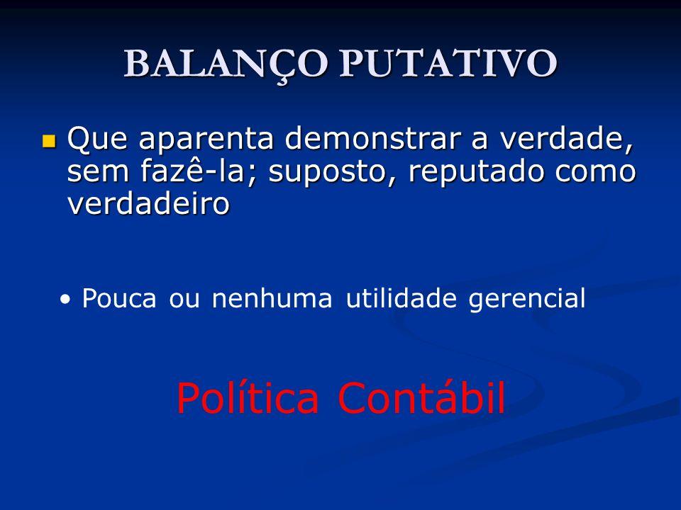 BALANÇO PUTATIVO Política Contábil