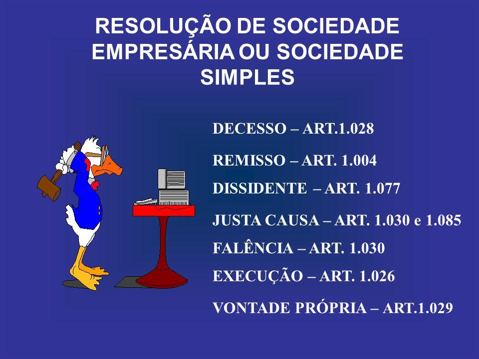 RESOLUÇÃO DE SOCIEDADE EMPRESÁRIA OU SOCIEDADE SIMPLES