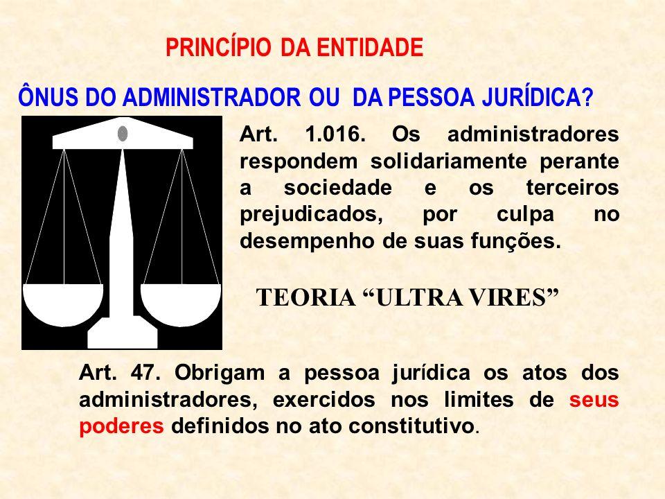 ÔNUS DO ADMINISTRADOR OU DA PESSOA JURÍDICA