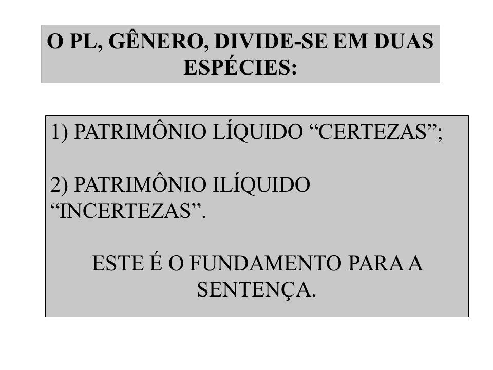O PL, GÊNERO, DIVIDE-SE EM DUAS ESPÉCIES: