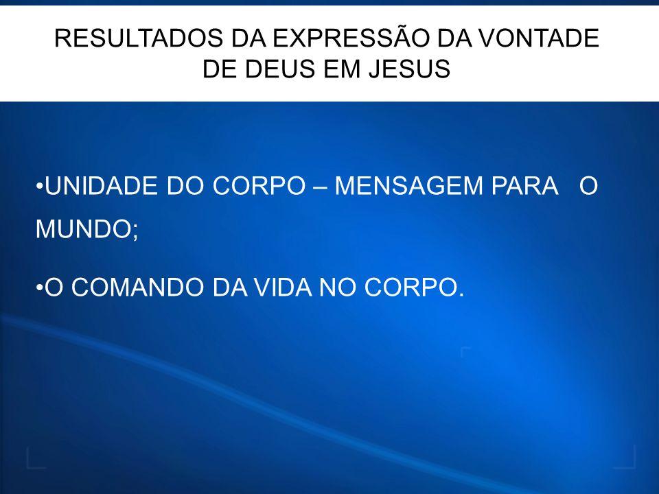 RESULTADOS DA EXPRESSÃO DA VONTADE DE DEUS EM JESUS