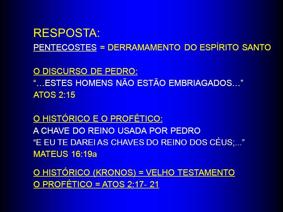 RESPOSTA: PENTECOSTES = DERRAMAMENTO DO ESPÍRITO SANTO