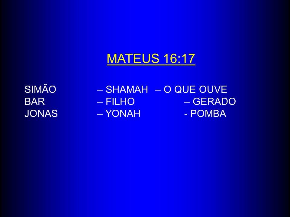 MATEUS 16:17 SIMÃO – SHAMAH – O QUE OUVE BAR – FILHO – GERADO