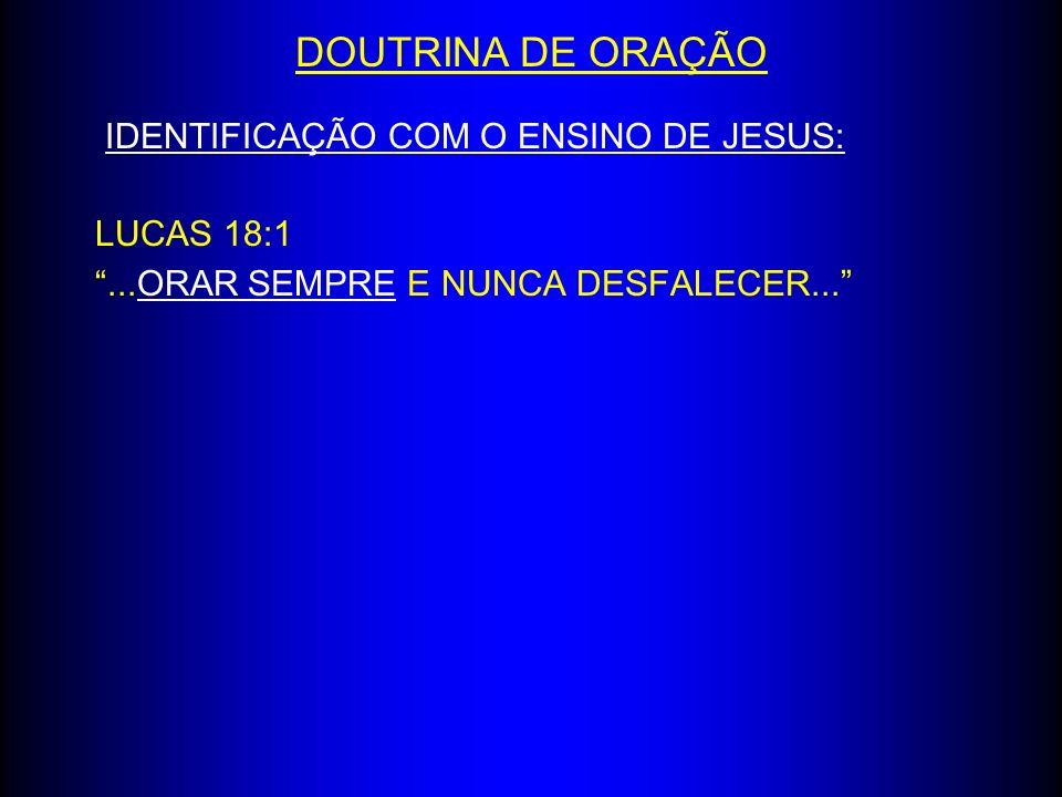 DOUTRINA DE ORAÇÃO IDENTIFICAÇÃO COM O ENSINO DE JESUS: LUCAS 18:1