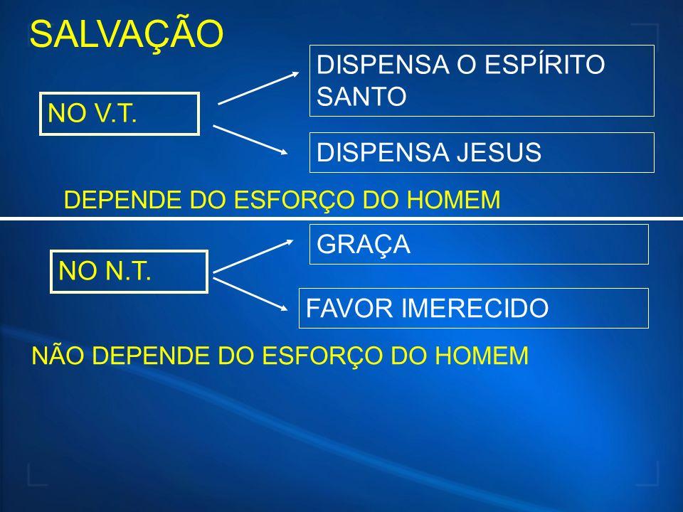 SALVAÇÃO DISPENSA O ESPÍRITO SANTO NO V.T. DISPENSA JESUS GRAÇA