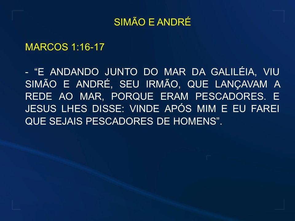 SIMÃO E ANDRÉ MARCOS 1:16-17.