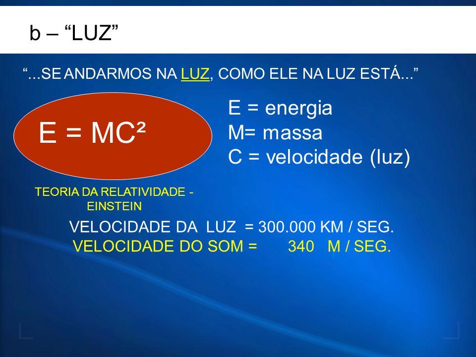 E = MC² b – LUZ E = energia M= massa C = velocidade (luz)