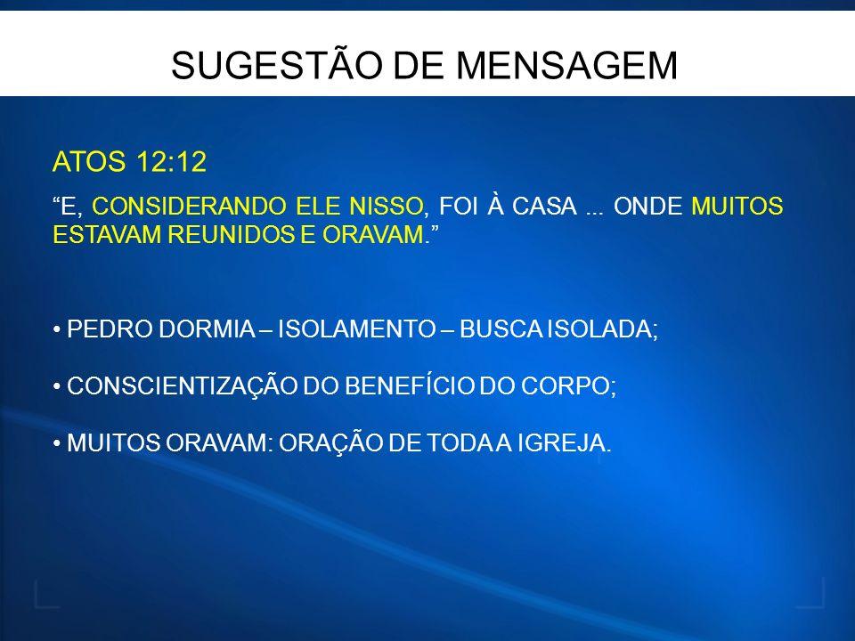 SUGESTÃO DE MENSAGEM ATOS 12:12