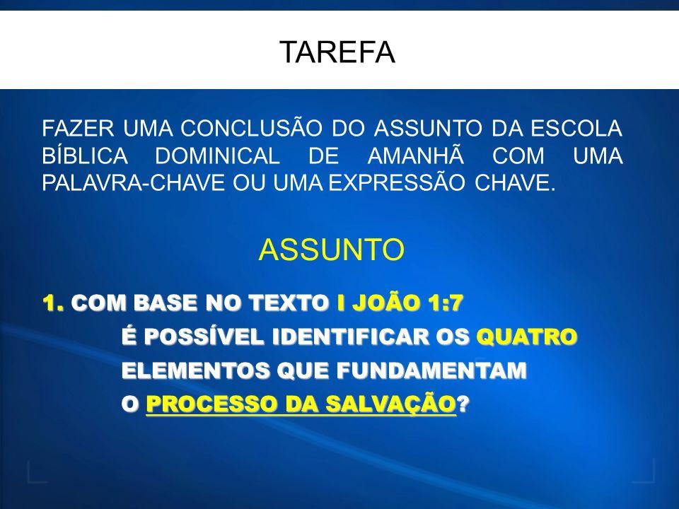 TAREFA FAZER UMA CONCLUSÃO DO ASSUNTO DA ESCOLA BÍBLICA DOMINICAL DE AMANHÃ COM UMA PALAVRA-CHAVE OU UMA EXPRESSÃO CHAVE.