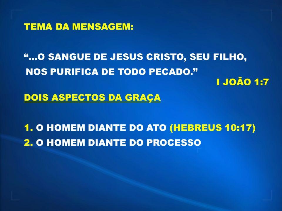 TEMA DA MENSAGEM: ...O SANGUE DE JESUS CRISTO, SEU FILHO, NOS PURIFICA DE TODO PECADO. I JOÃO 1:7.