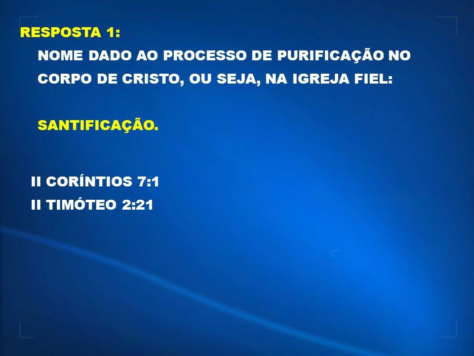 RESPOSTA 1: NOME DADO AO PROCESSO DE PURIFICAÇÃO NO CORPO DE CRISTO, OU SEJA, NA IGREJA FIEL: SANTIFICAÇÃO.