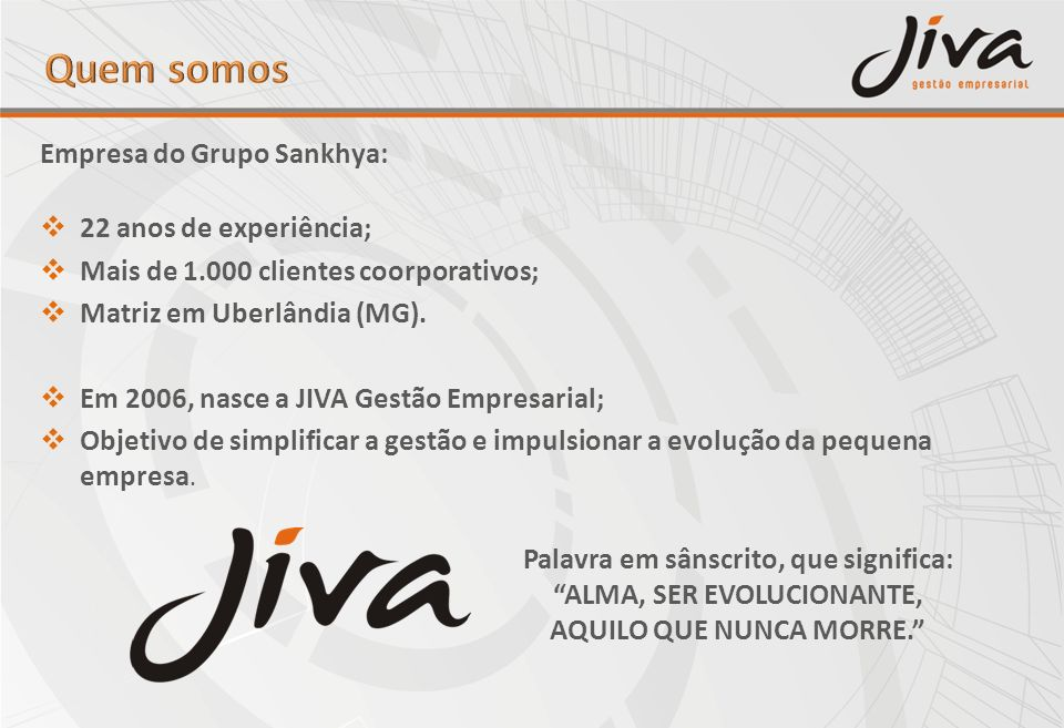 Quem somos Empresa do Grupo Sankhya: 22 anos de experiência;