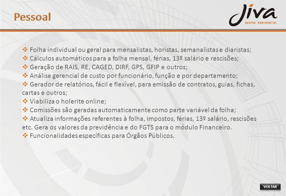 Pessoal Folha individual ou geral para mensalistas, horistas, semanalistas e diaristas;