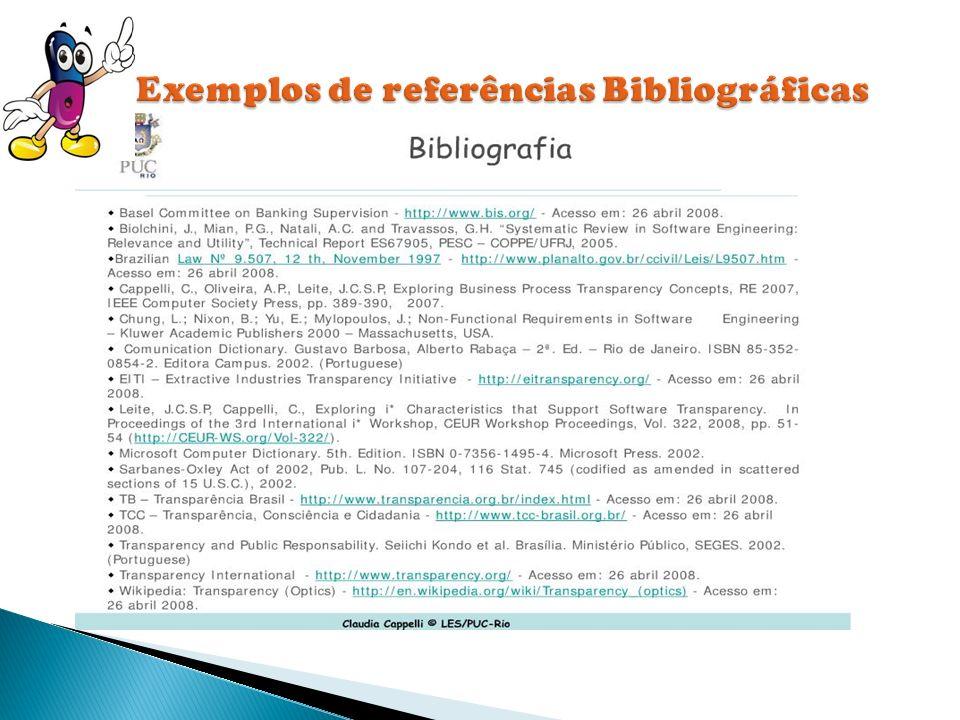 Exemplos de referências Bibliográficas