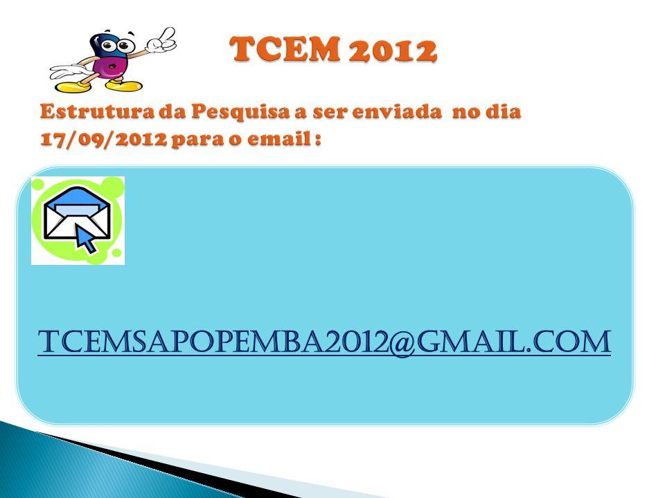 TCEM 2012 Estrutura da Pesquisa a ser enviada no dia 17/09/2012 para o email :