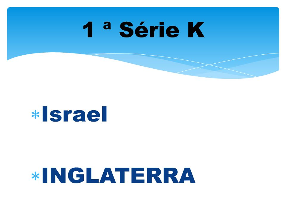 1 ª Série K Israel INGLATERRA