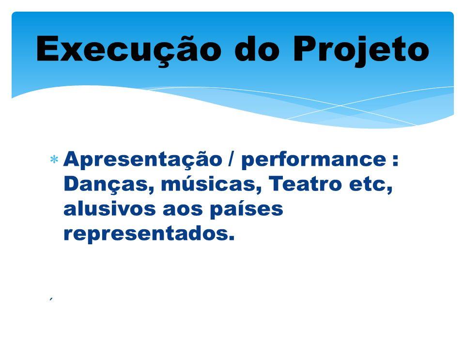 Execução do Projeto Apresentação / performance : Danças, músicas, Teatro etc, alusivos aos países representados.