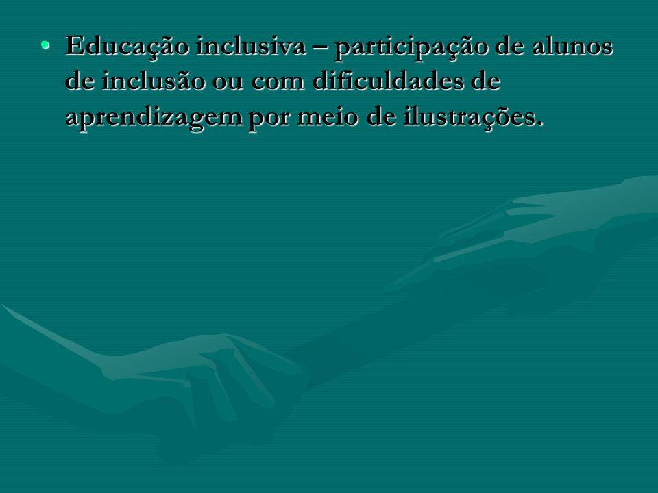 Educação inclusiva – participação de alunos de inclusão ou com dificuldades de aprendizagem por meio de ilustrações.