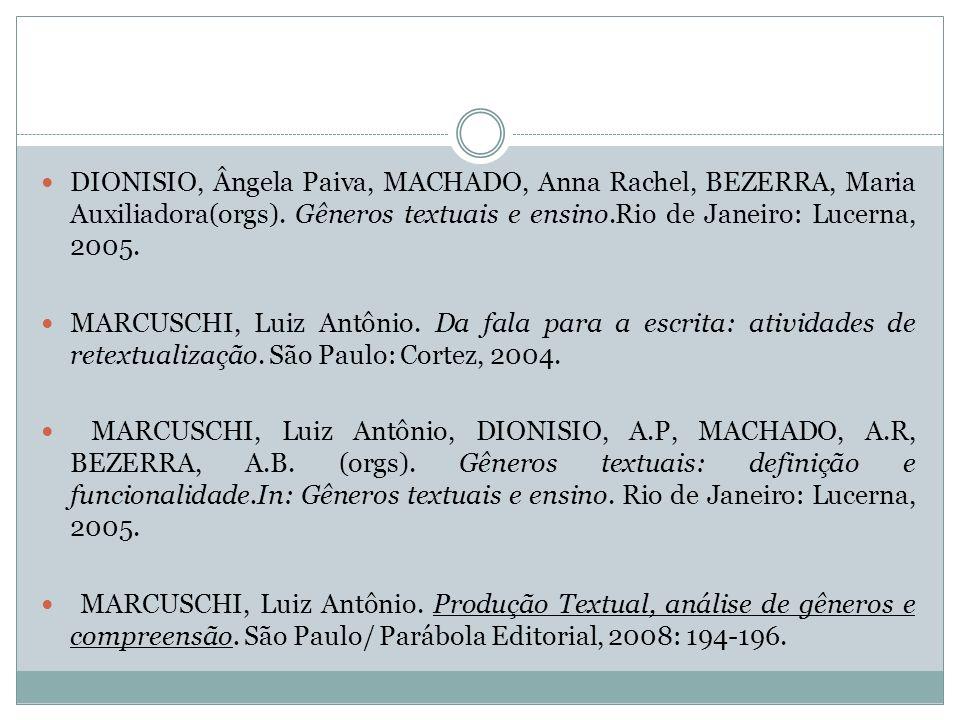 DIONISIO, Ângela Paiva, MACHADO, Anna Rachel, BEZERRA, Maria Auxiliadora(orgs). Gêneros textuais e ensino.Rio de Janeiro: Lucerna, 2005.