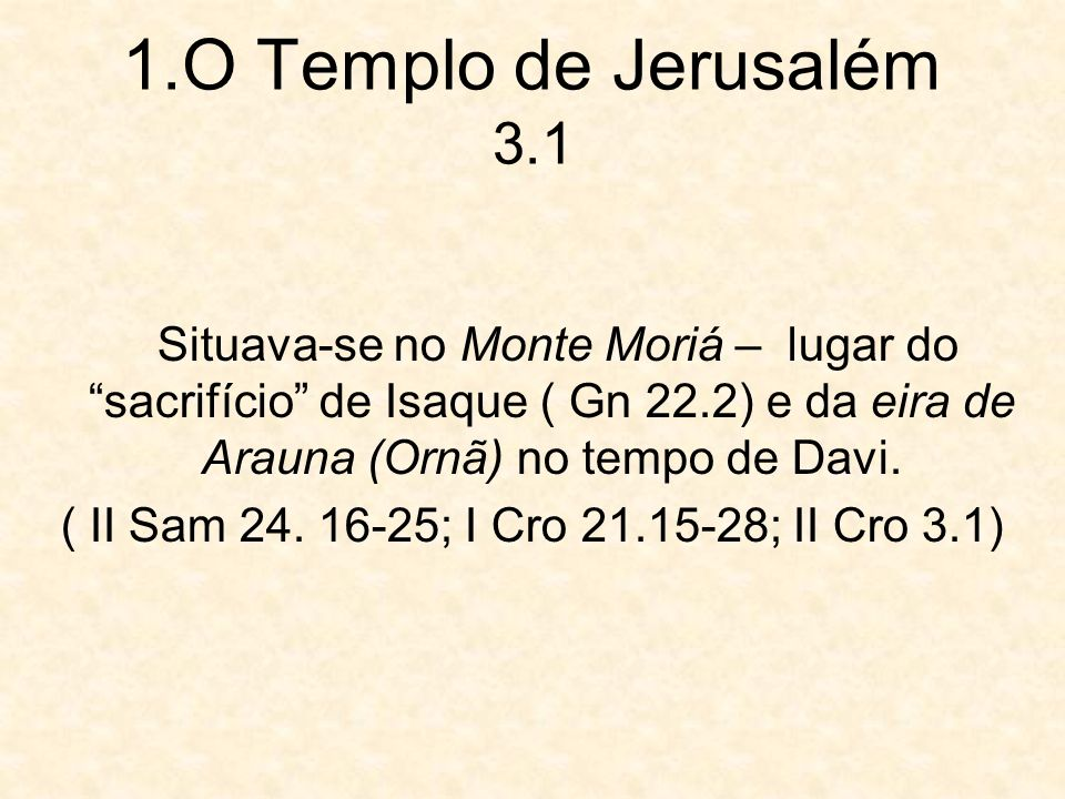 ( II Sam 24. 16-25; I Cro 21.15-28; II Cro 3.1)