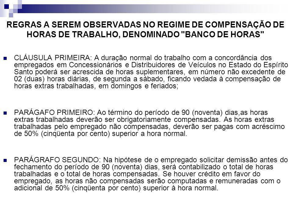 REGRAS A SEREM OBSERVADAS NO REGIME DE COMPENSAÇÃO DE HORAS DE TRABALHO, DENOMINADO BANCO DE HORAS