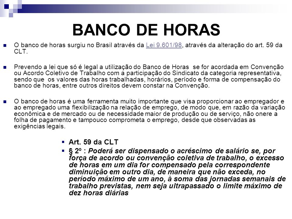 BANCO DE HORAS Art. 59 da CLT