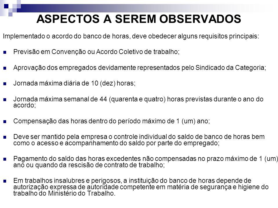 ASPECTOS A SEREM OBSERVADOS