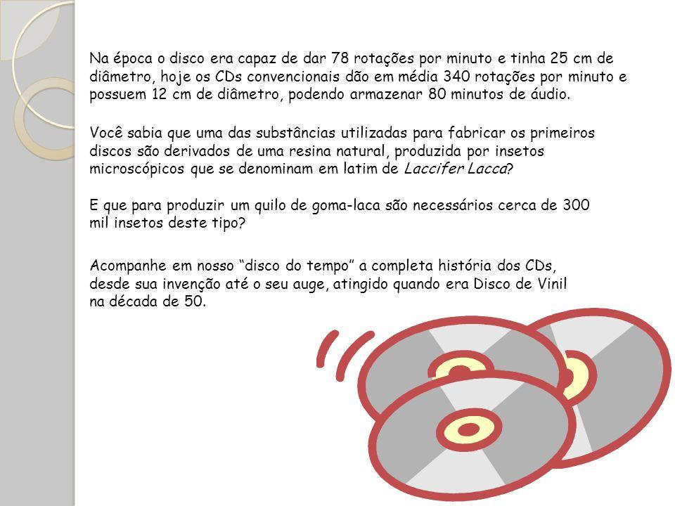 Na época o disco era capaz de dar 78 rotações por minuto e tinha 25 cm de diâmetro, hoje os CDs convencionais dão em média 340 rotações por minuto e possuem 12 cm de diâmetro, podendo armazenar 80 minutos de áudio.