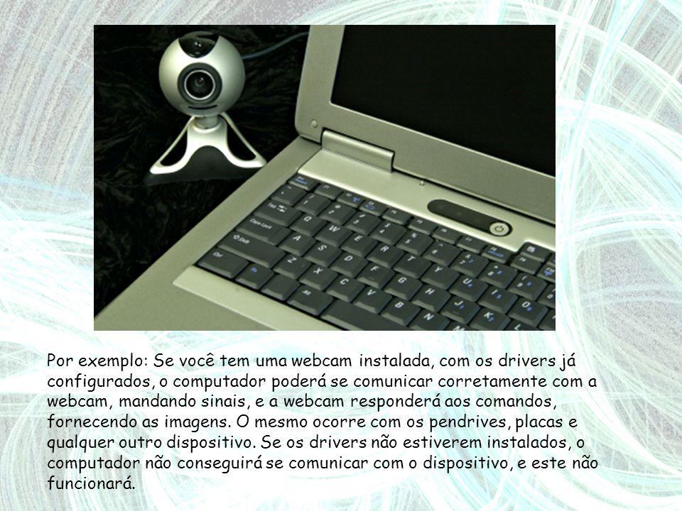 Por exemplo: Se você tem uma webcam instalada, com os drivers já configurados, o computador poderá se comunicar corretamente com a webcam, mandando sinais, e a webcam responderá aos comandos, fornecendo as imagens.