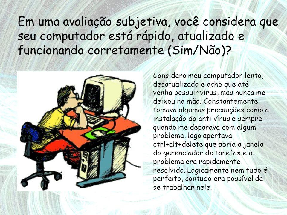 Em uma avaliação subjetiva, você considera que seu computador está rápido, atualizado e funcionando corretamente (Sim/Não)