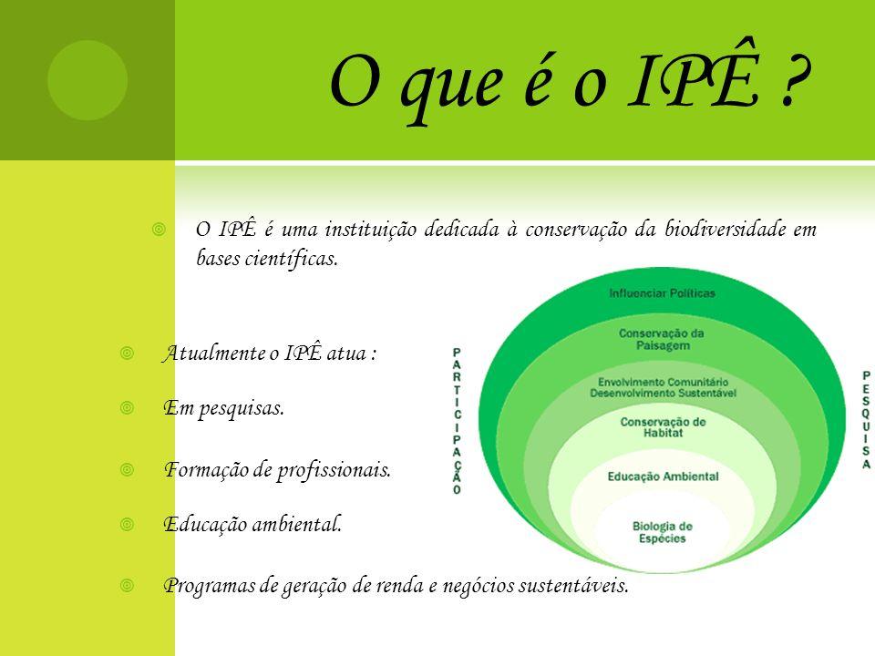 O que é o IPÊ O IPÊ é uma instituição dedicada à conservação da biodiversidade em bases científicas.