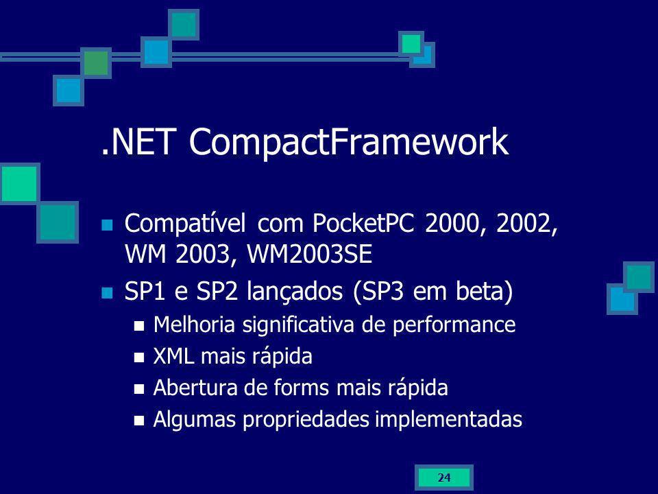 .NET CompactFrameworkCompatível com PocketPC 2000, 2002, WM 2003, WM2003SE. SP1 e SP2 lançados (SP3 em beta)