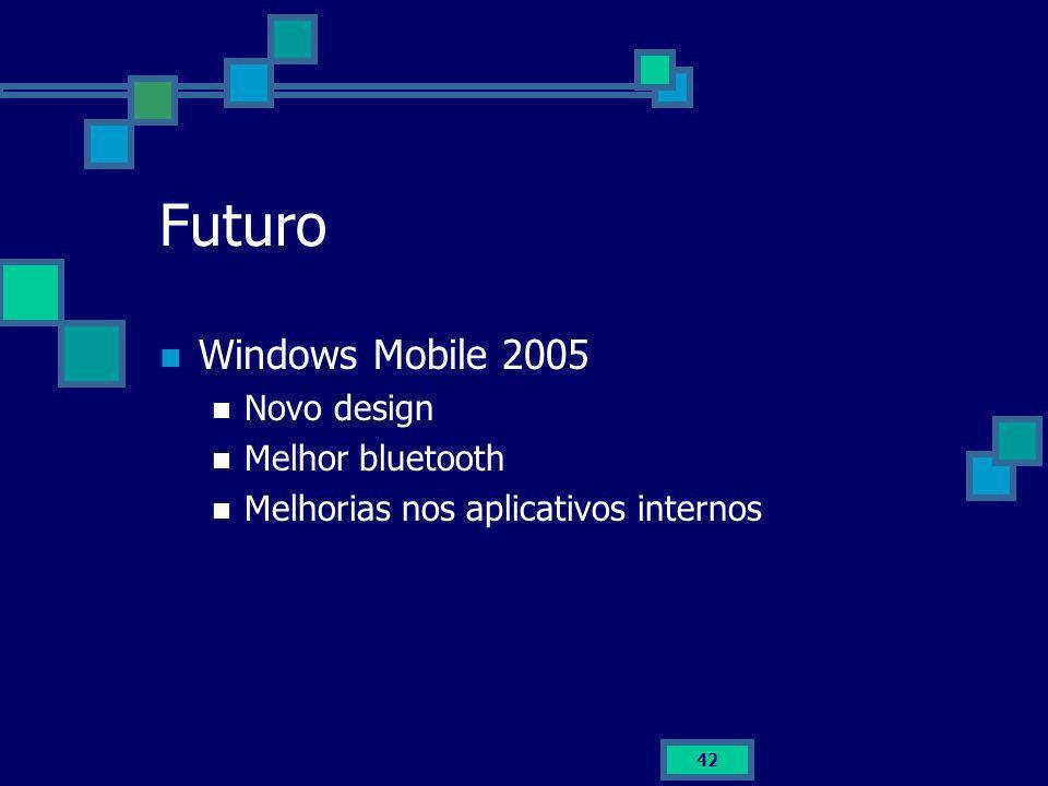 Futuro Windows Mobile 2005 Novo design Melhor bluetooth
